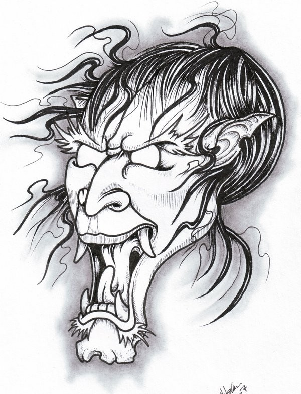 Breathtaking colorless oriental demon face tattoo design by Viking Tattoo