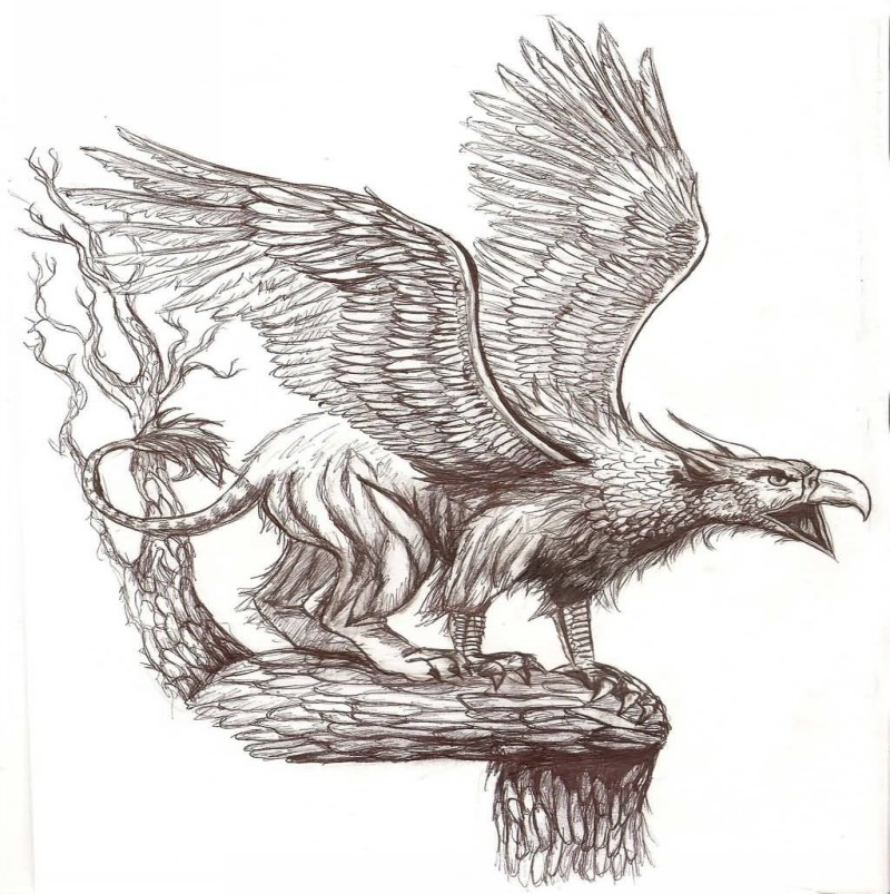 Breathtaking grey-ink crying griffin standing on the branch tattoo design