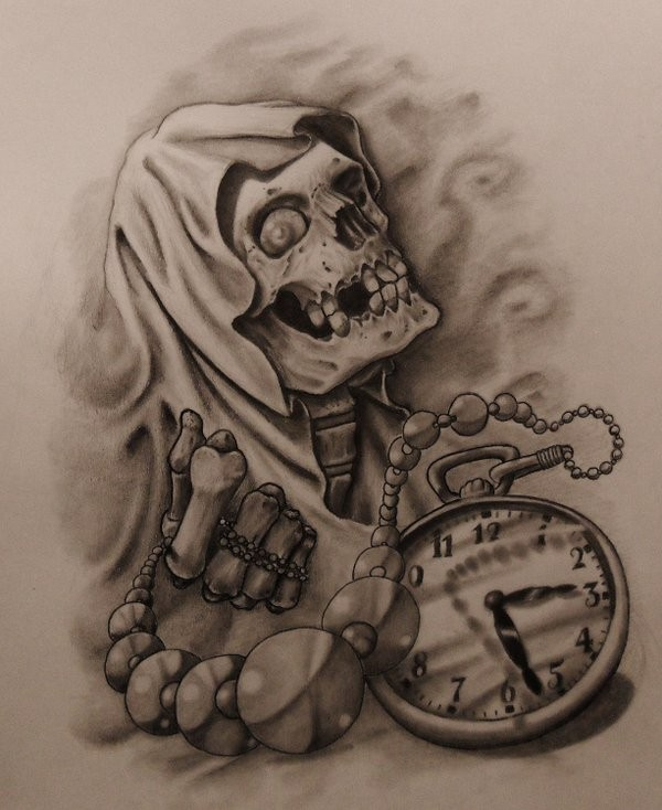 Breathtaking grey-ink death keeping beaded pocket clock tattoo design