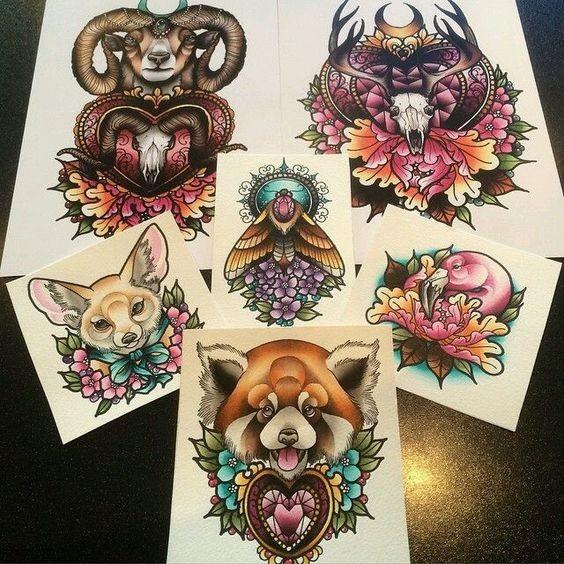 Breathtaking multicolor new school animal tattoo designs ...