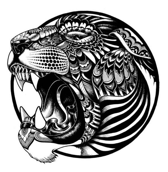 Breathtaking ornate roaring tiger head tattoo design ...