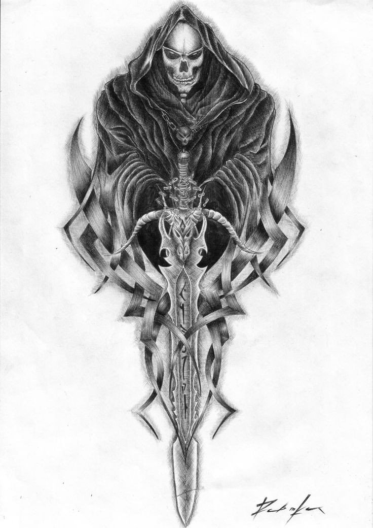Breathtaking pencilwork death with a huge decorated sword tattoo design
