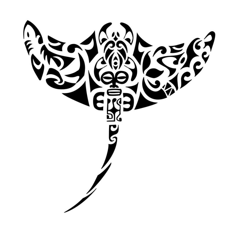 Breathtaking polynesian patterned water animal tattoo design