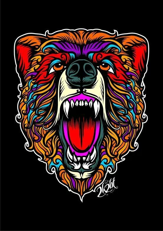Breathtaking vivid colored screaming grizzly head tattoo design