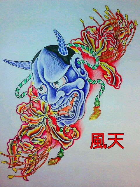 Bright blue devil with yellow-and-red flowers tattoo design