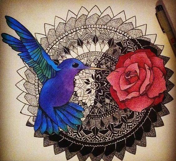 Bright blue hummingbird and red rose over yin yang mandala tattoo design
