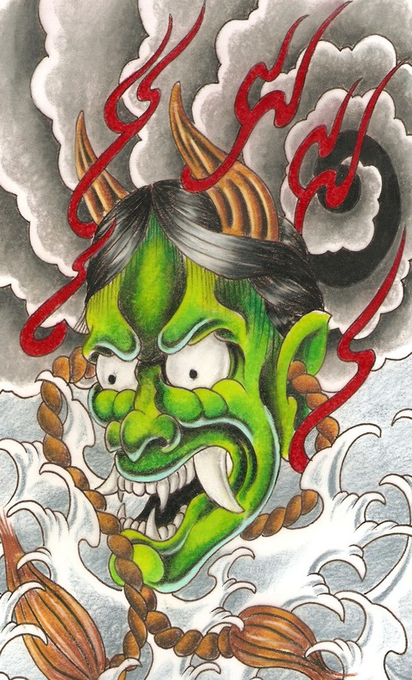 Bright green devil face with red stripes and brown rope tattoo design