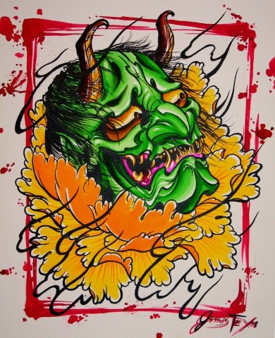 Bright green devil head in a big orange peony bud tattoo design
