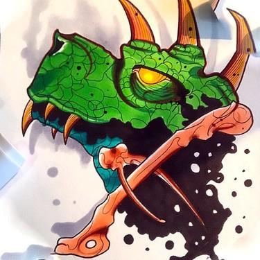 Bright green dinosaur head with bones tattoo design
