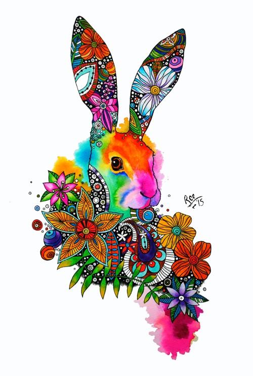 Bright multicolor folk-patterned hare portrait tattoo design