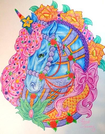 Bright multicolor unicorn portrait with flowers tattoo design