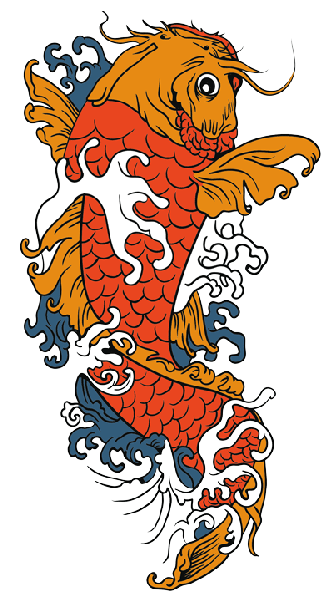 Bright orange koi fish in white and grey waves tattoo design