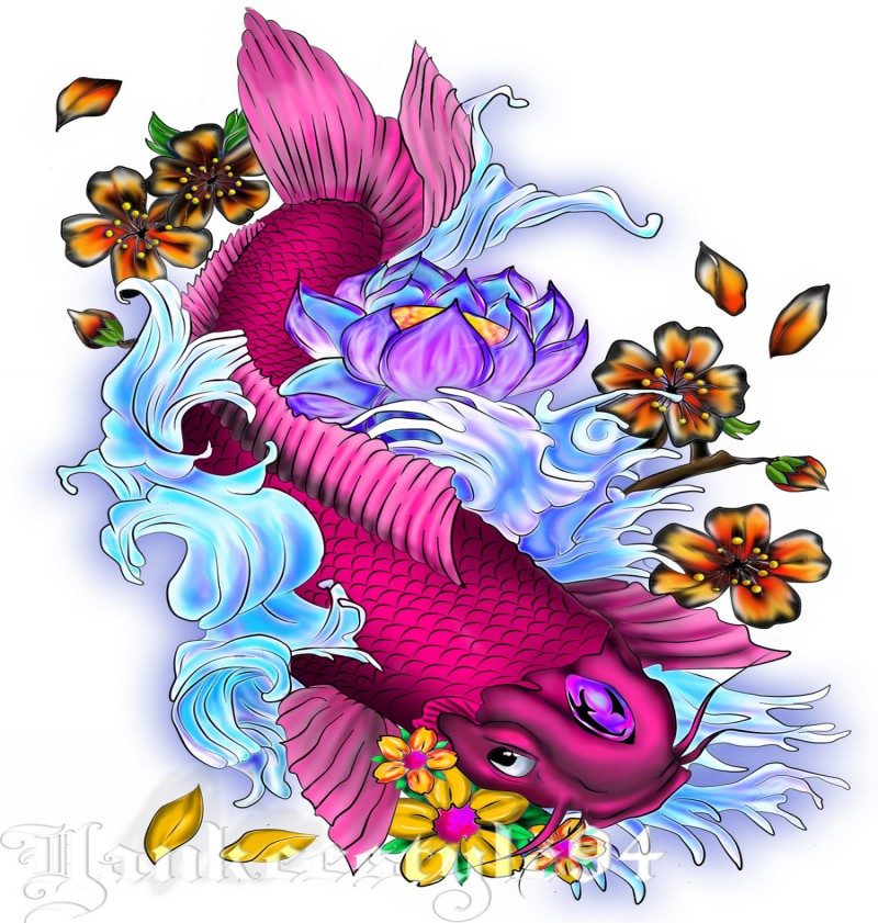 Bright purple decorated koi fish with flowers tattoo design by Yankee Style