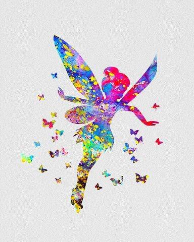 Bright rainbow watercolor flying fairy tattoo design