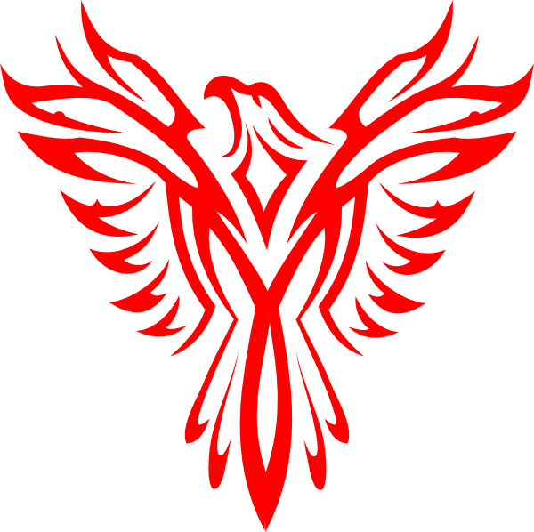 Bright red-color phoenix emblem tattoo design