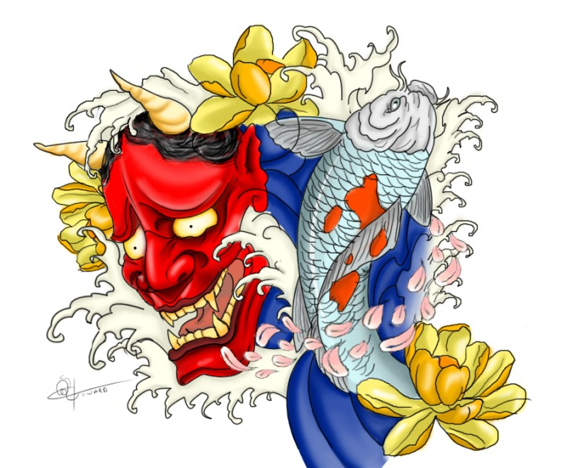 Bright red devil with koi fish and yellow lotuses tattoo design