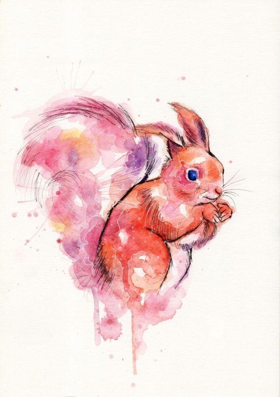 Bright red watercolor squirrel tattoo design