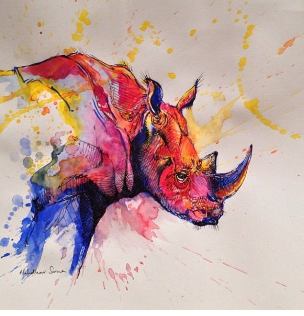 Brightful montly watercolor rhino tattoo design