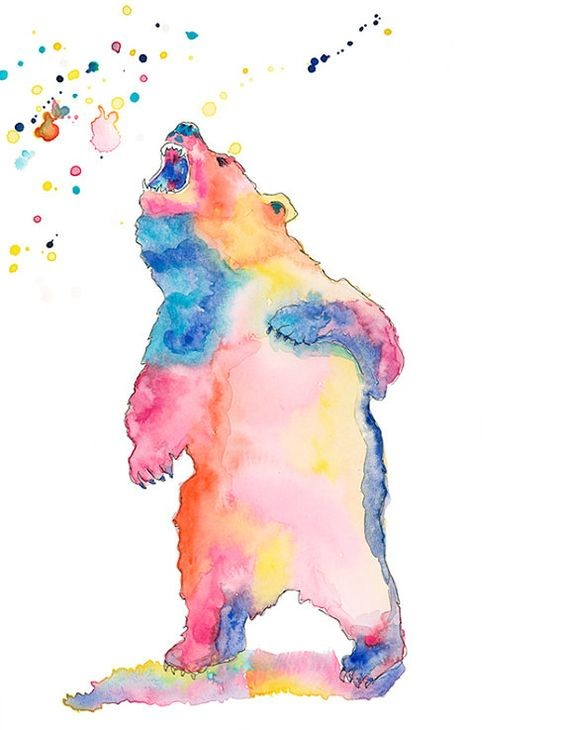 Brightful watercolor screaming grizzly in full growth tattoo design
