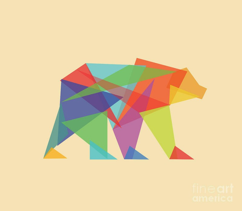 Brightly-colored geometric-style walking grizzly tattoo design