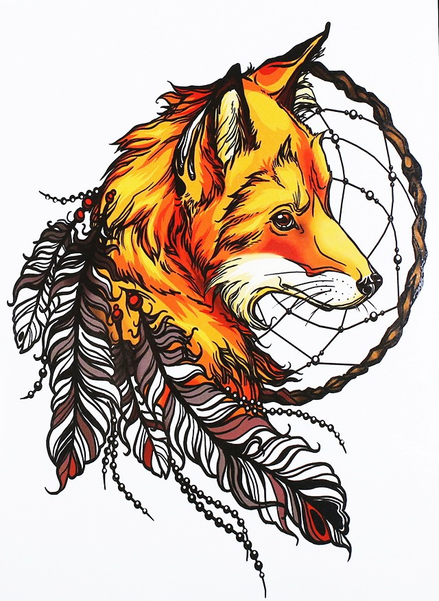 Brigth orange native fox head with dream catcher and feathers tattoo design