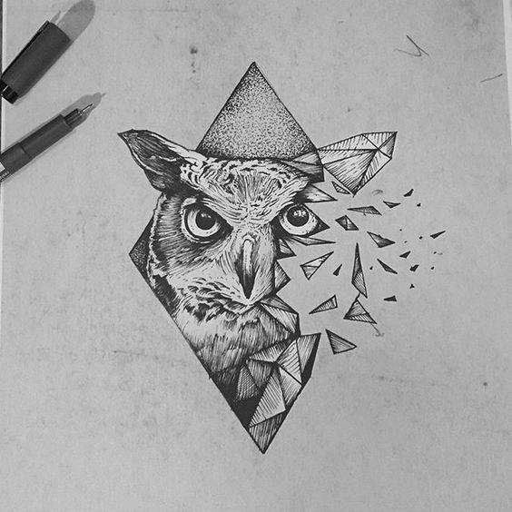 Broken dotwork owl portrait in rhombus frame tattoo design
