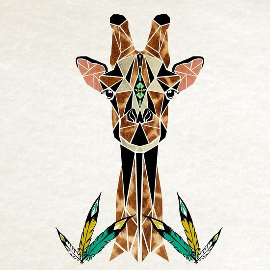 Brown-and-black geometric giraffe portrait with feather elements tattoo design