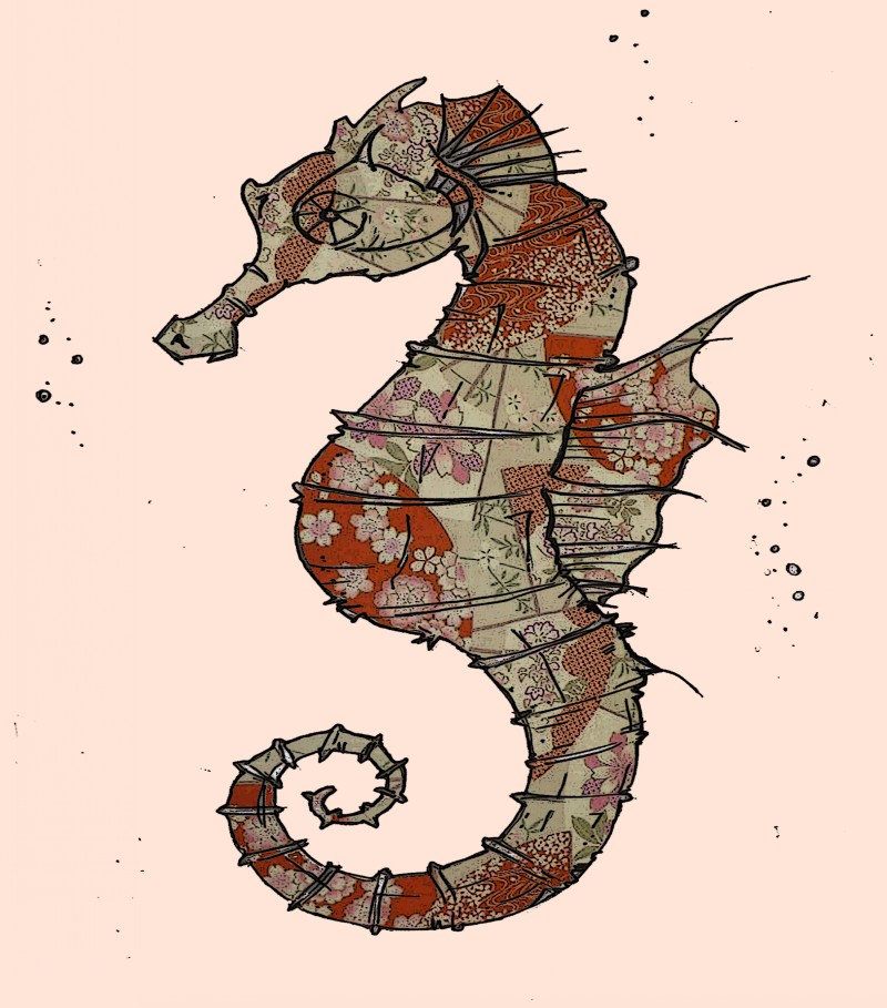 Brown-and-grey floral-patterned seahorse tattoo design