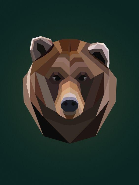 Brown full-geometric grizzly head tattoo design