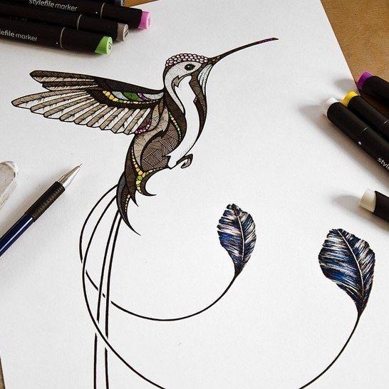 Brown geometric-patterned hummingbird tattoo design