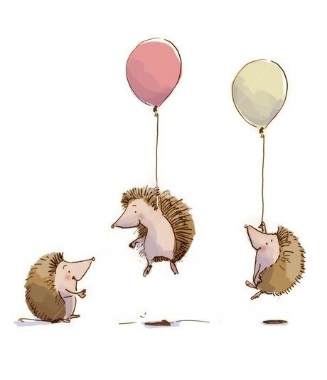 Brown hedgehog company flying by balloons tattoo design