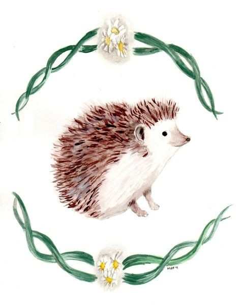 Brown hedgehog framed with green stems and camomiles tattoo design