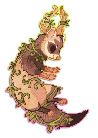 Brown horned rodent curled with green herbal branch tattoo design