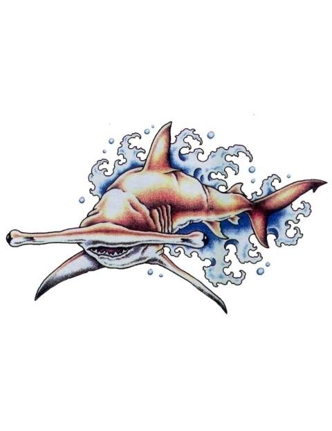 Brown hummer shark swimming in blue waves tattoo design