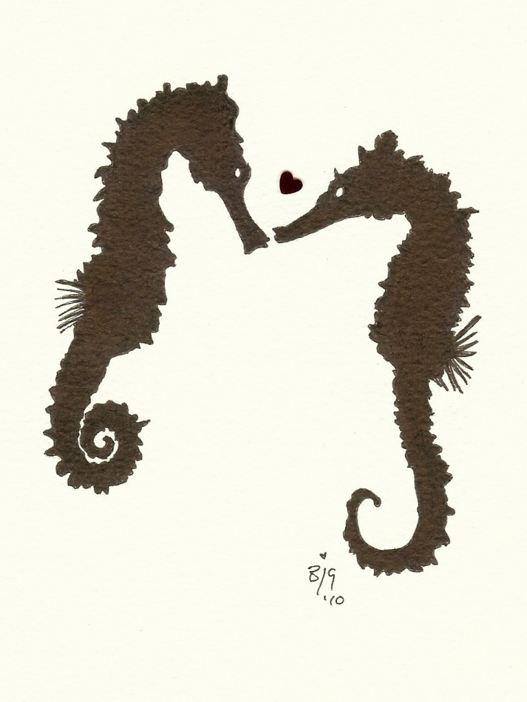 Brown seahorse lovers and tiny red heart tattoo design