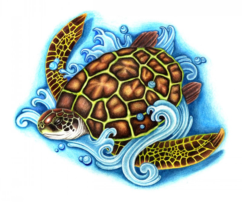 Brown water animal swimming in waves tattoo design by Stark Sketches