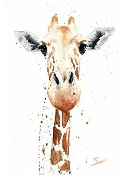 Brown watercolor giraffe portrait with grey ears tattoo design