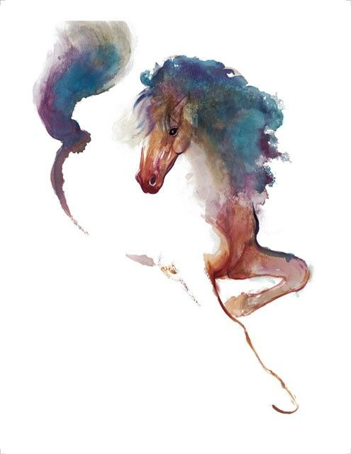 Brown watercolor horse with blue mane tattoo design ...