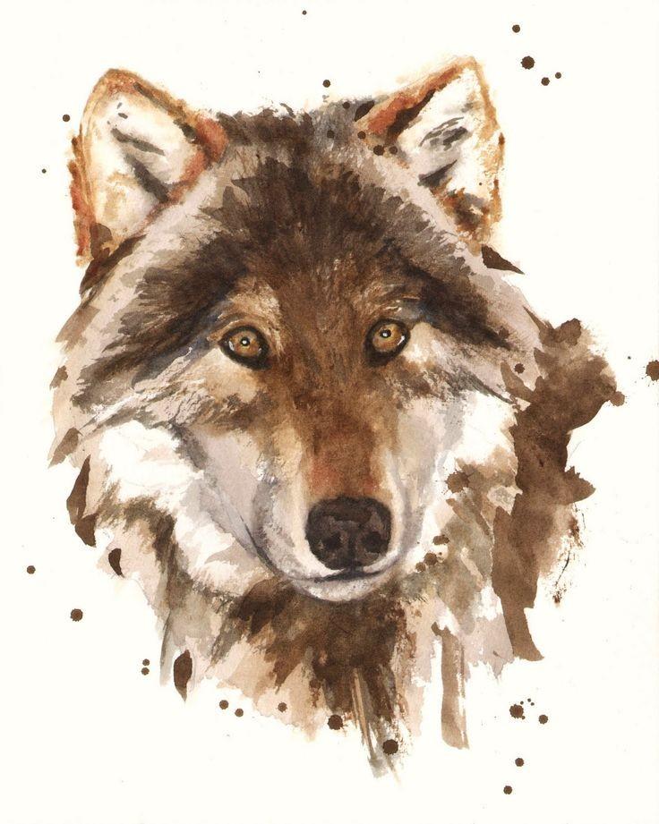 Brown watercolor wild animal portrait tattoo design