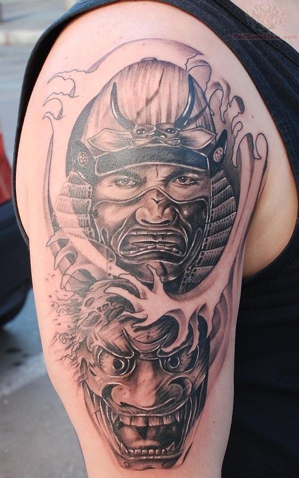 Brutal samurai warrior and a mask tattoo on shoulder