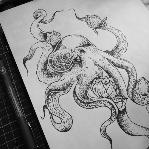 Buddhist octopus with lotus flowers tattoo design tattooimagesz buddhist octopus with lotus flowers tattoo design mightylinksfo