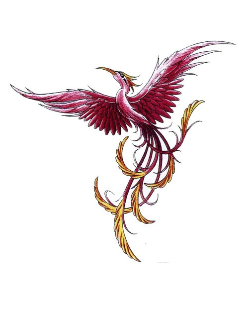 Burgundy-color phoenix with yellow-feathered tail tattoo design