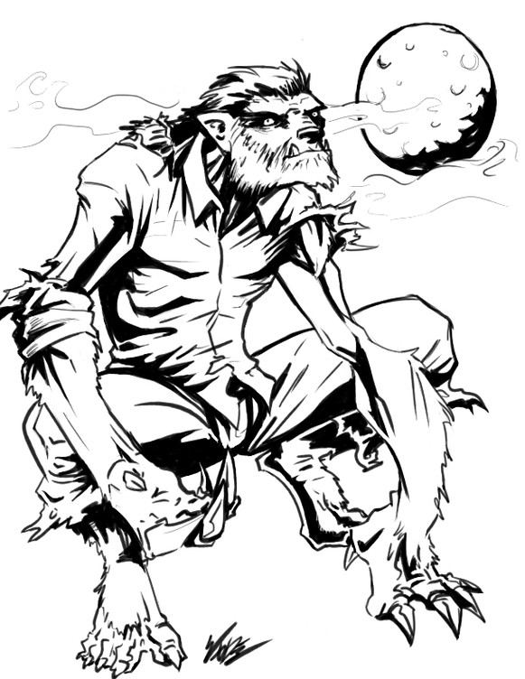 Calm black-and-white dressed thinking werewolf and full moon tattoo design