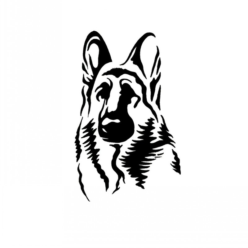 Calm black-ink dog portrait tattoo design by Jsharts