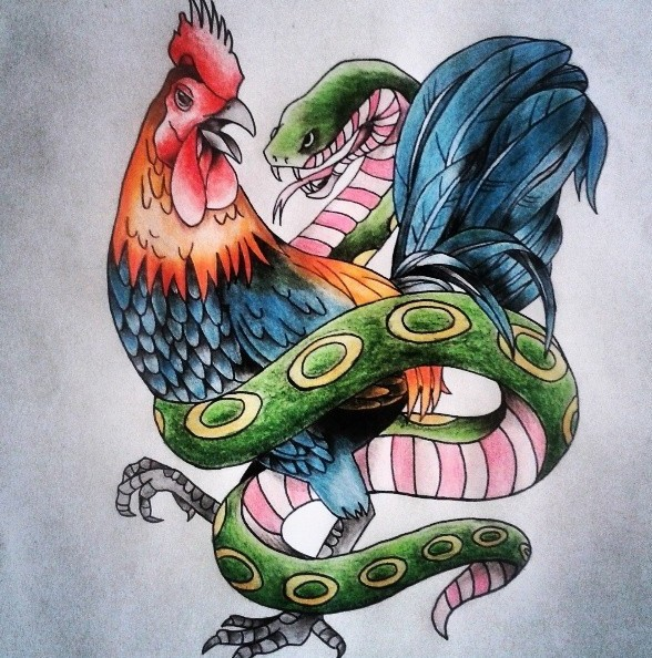 Calm colorful rooster and cunning snake tattoo design for Funky rooster tattoo and art gallery