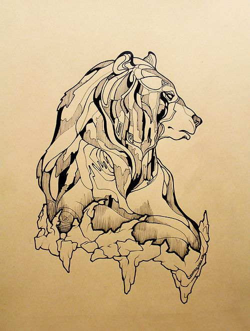 Calm drawn bear in profile tattoo design