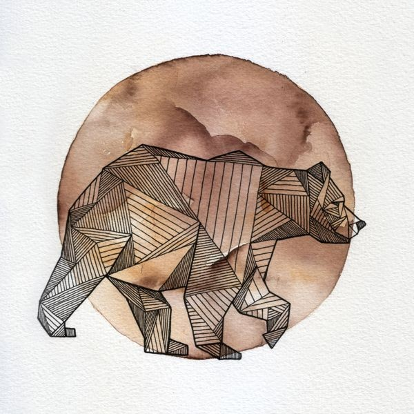 Calm geometric walking grizzly on watercolor moon background tattoo design