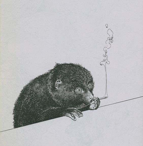 Calm grey-eyed lemur smoking a sigarette tattoo design