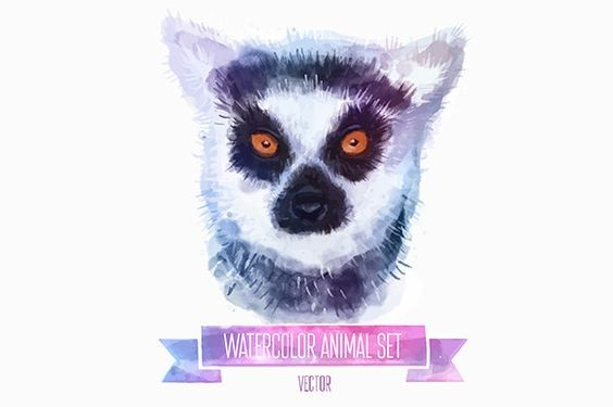 Calm lemur portrait and purple quoted ribbon tattoo design