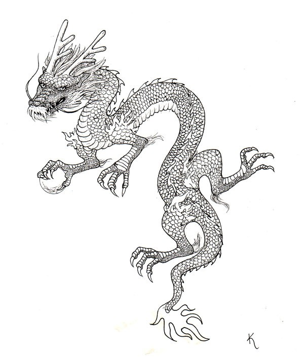 calm outline chinese dragon with deer horns tattoo design tattooimagesbiz